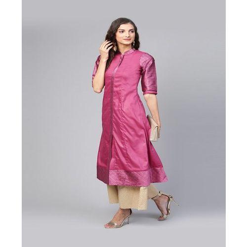 Inddus Pink Calf Length A Line Kurti