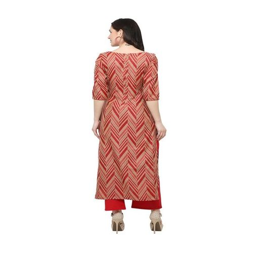 Inddus Red & Brown Cotton Printed Straight Kurti