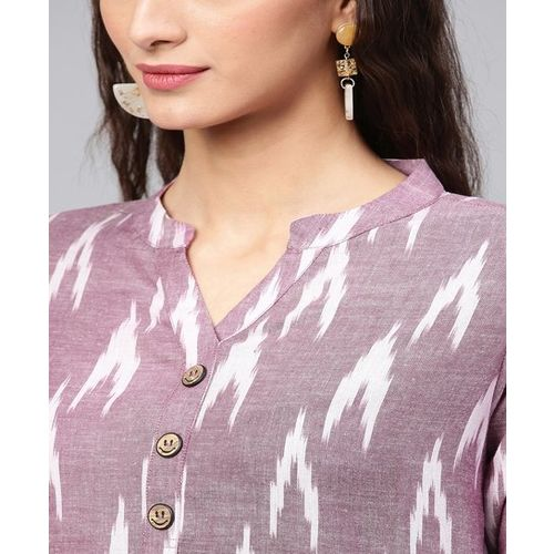 Inddus Purple Cotton Printed Straight Kurti