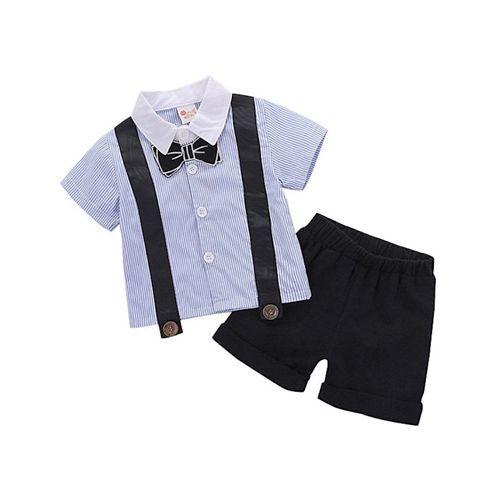 Pre Order - Awabox Bow Applique Striped Short Sleeves Shirt & Shorts Set - Blue