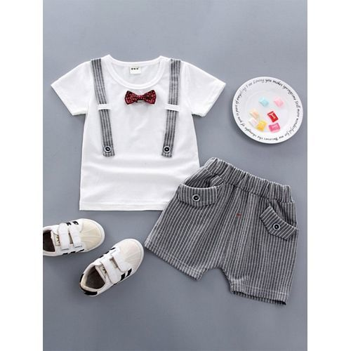Pre Order - Awabox Bow Applique Short Sleeves Tee & Striped Shorts Set - Grey & White