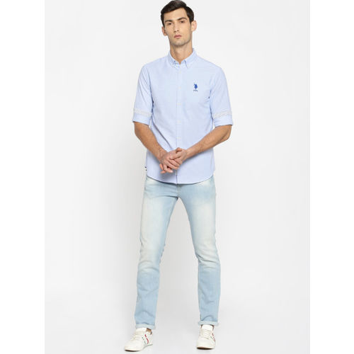 U.S. Polo Assn. Men Blue Tailored Fit Solid Casual Shirt