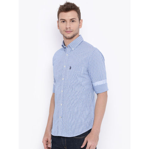 U.S. Polo Assn. Men Blue Printed Tailored Fit Casual Shirt