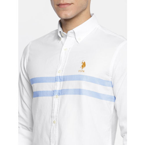 U.S. Polo Assn. Men White Tailored Fit Striped Casual Shirt