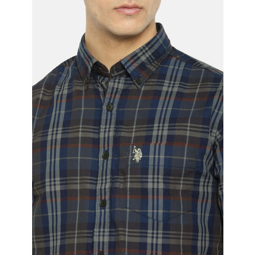 U.S. Polo Assn. Men Navy Blue & Grey Regular Fit Checked Casual Shirt