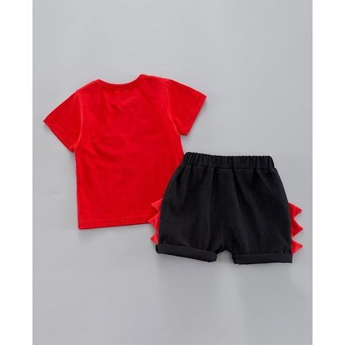 Pre Order - Awabox Half Sleeves Dinosaur In A Car Print Tee With Shorts - Red