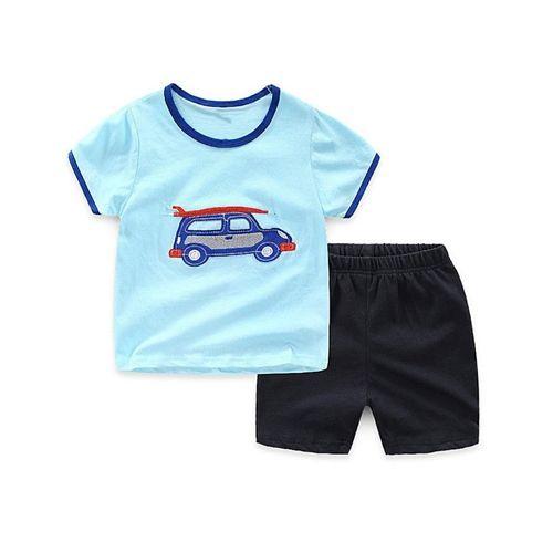 Pre Order - Awabox Car Patch Short Sleeves T-Shirt & Shorts Set - Light Blue & Black