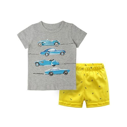 Pre Order - Awabox Car Printed Short Sleeves T-Shirt & Shorts Set - Grey & Yellow