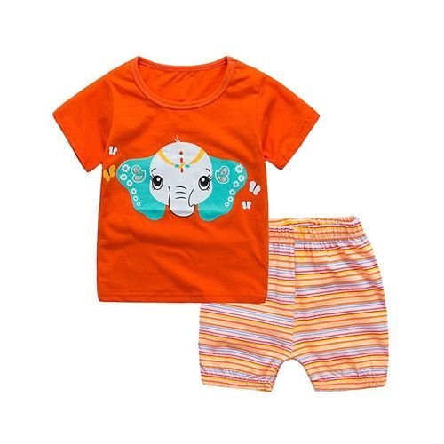 Pre Order - Awabox Elephant Printed Short Sleeves T-Shirt & Striped Shorts Set - Orange