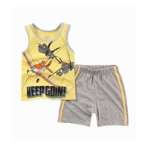 Pre Order - Awabox Aircraft Printed Sleeveless T-Shirt & Shorts Set - Yellow & Grey