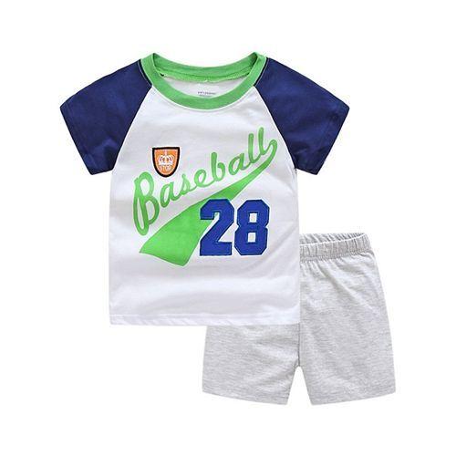 Pre Order - Awabox Baseball Printed Short Sleeves T-Shirt & Shorts Set - White & Grey
