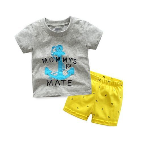 Pre Order - Awabox Mommy's 1 Mate Printed Short Sleeves T-Shirt & Shorts Set - Gray & Yellow