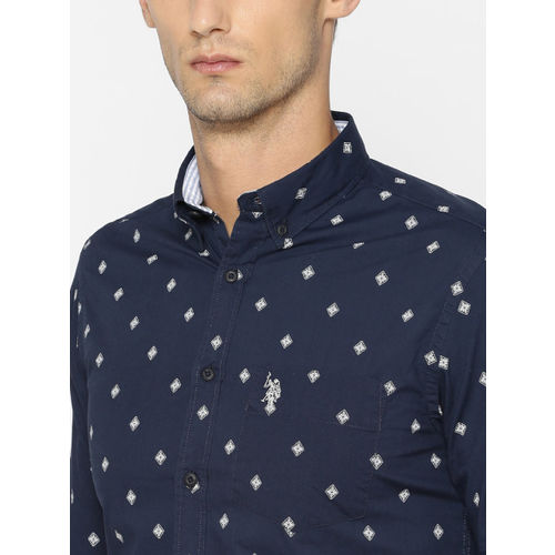 U.S. Polo Assn. Men Navy Blue Tailored Fit Printed Casual Shirt