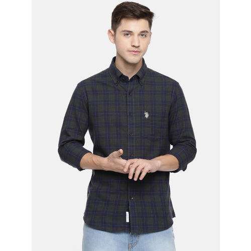 U.S. Polo Assn. Men Green & Navy Blue Tailored Fit Checked Casual Shirt