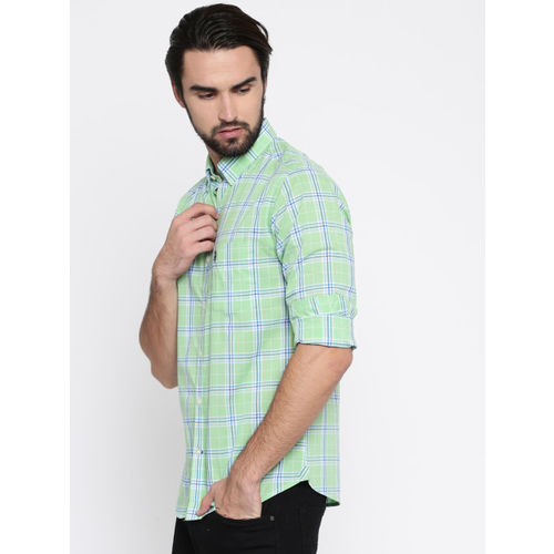 U.S. Polo Assn. Men Green Tailored Fit Checked Casual Shirt