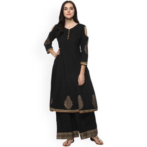 Bhama Couture Women Black Printed Kurta with Palazzos