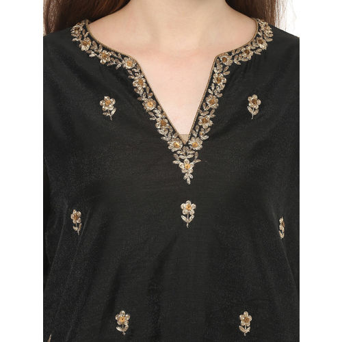 Bhama Couture Women Black & Beige Printed Kurta with Palazzos