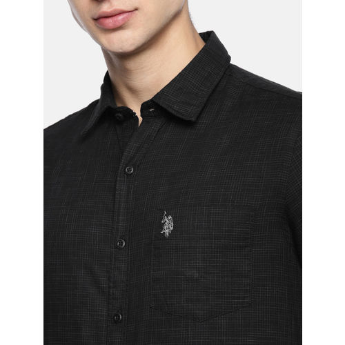 U.S. Polo Assn. Men Black Manhattan Tailored Fit Checked Casual Shirt