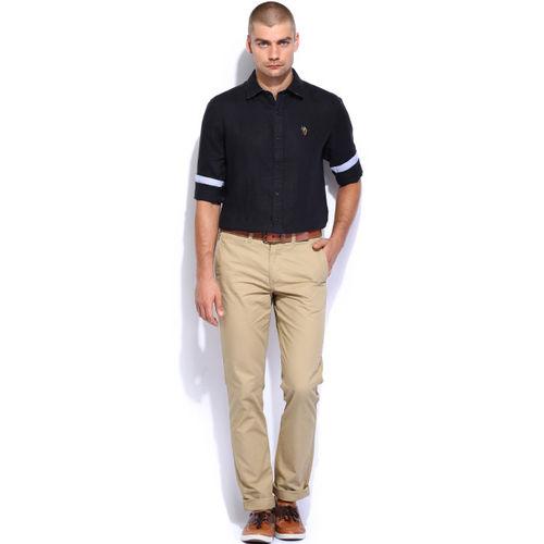 U.S. Polo Assn. Black Linen Tailored Fit Smart Casual Shirt