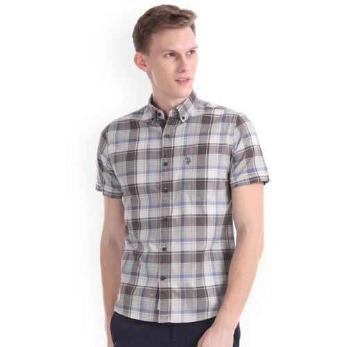 U.S. Polo Assn. Men Grey & Brown Regular Fit Checked Casual Shirt