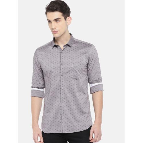 U.S. Polo Assn. Men Grey Slim Fit Printed Casual Shirt