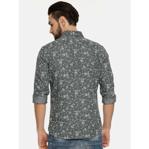 U.S. Polo Assn. Men Grey Regular Fit Printed Chambray Casual Shirt