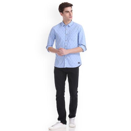Flying Machine Men Blue Regular Fit Printed Casual Shirt