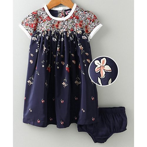 Nauti Nati Cosmo Flower Print Short Sleeves Dress With Bloomer - Navy Blue