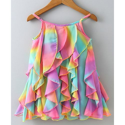 Nauti Nati Colorful Self Print Tassel Sleeveless Ruffled Dress With Bloomer - Multicolor