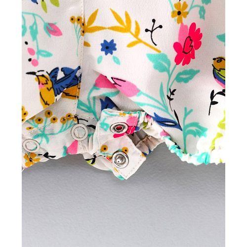 Nauti Nati Sleeveless Flower Print Front Buttoned Jumpsuit - White