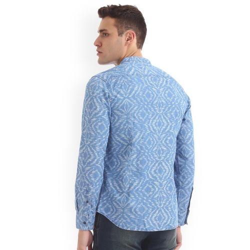 Flying Machine Men Blue Classic Slim Fit Printed Casual Shirt
