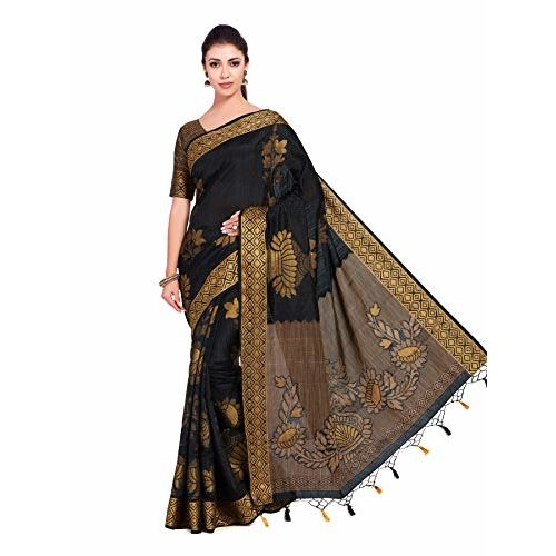 c71543eb253740 ... MIMOSA Women's Art Silk Saree Woven with Jute Thread All over with  Blouse (54, ...