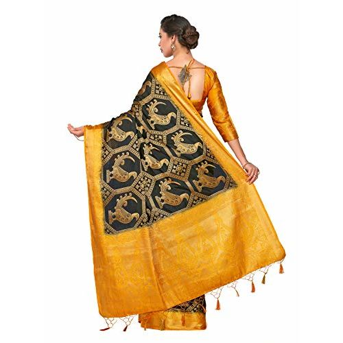 Mimosa Art Patola Wedding Sik saree Kanjivarm Style With Contrast Blouse Color: Black (4301-360-2D-BLK-GLD)
