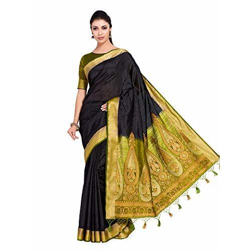b6c35fe22545fb ... MIMOSA Women's Art Silk Kanjivaram Style Saree with Contrast Blouse  (104, Black) ...