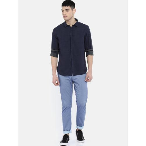 Flying Machine Men Navy Blue Regular Fit Self Design Casual Shirt