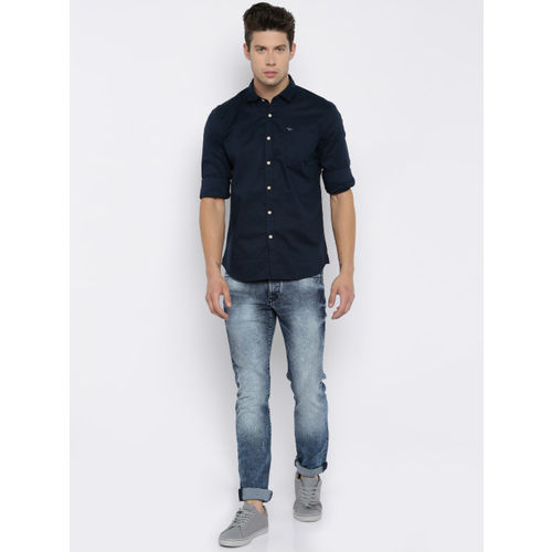 Flying Machine Navy Blue Slim Fit Solid Casual Shirt