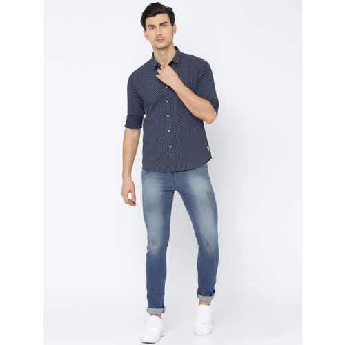 Flying Machine Men Navy Blue Smart Fit Printed Casual Shirt
