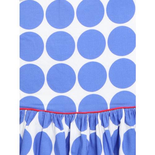 mothercare Girls Blue & White Polka Dot Print Fit & Flare Dress