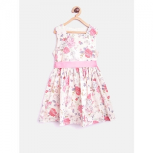 mothercare Girls White & Pink Floral Print Fit & Flare Dress