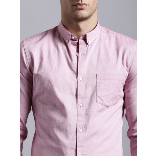 ether Men Pink Regular Fit Anti-Microbial Oxford Casual Shirt