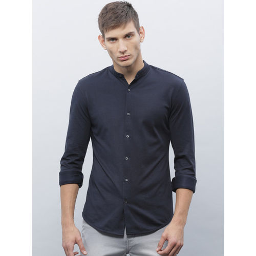 ether Men Navy Blue Knitted Regular Fit Casual Shirt