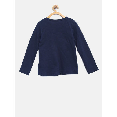 mothercare Girls Navy Blue Sequinned Round Neck T-shirt