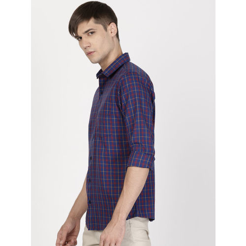 ether Men Navy & Red Regular Fit Checked Casual Shirt