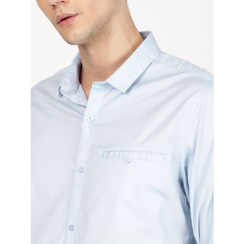ether Men Blue Slim Fit Solid Slim Fit Longline Casual Shirt