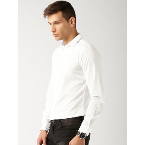 ether Men White Slim Fit Antimicrobial Cotton Stretch Shirt