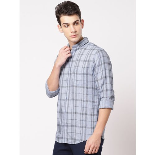 ether Men Blue Slim Fit Checked Casual Shirt