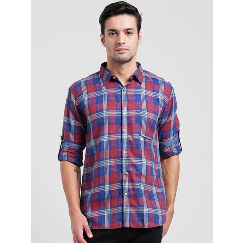 Being Fab Men's Checkered Casual Red Shirt