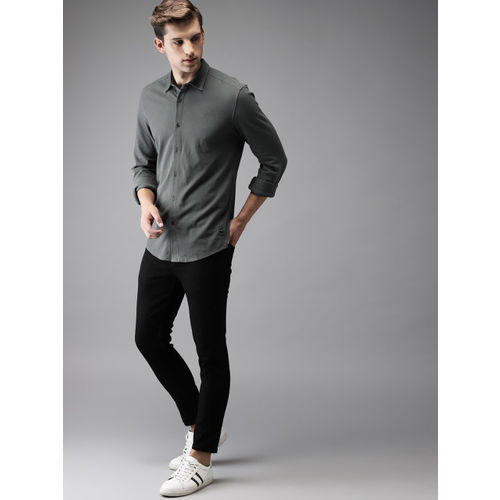 Flying Machine Men Grey Slim Fit Solid Casual Shirt