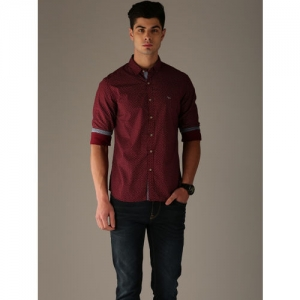 Flying Machine Maroon Cotton Regular Fit Printed Casual Shirt