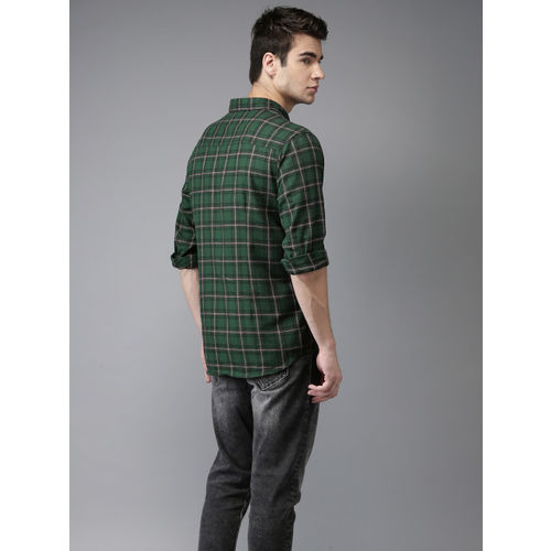Flying Machine Men Green & Red Regular Fit Checked Casual Shirt